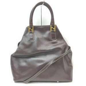 """Fendi Brown Leather FF Logo 2way Tote 861193 """
